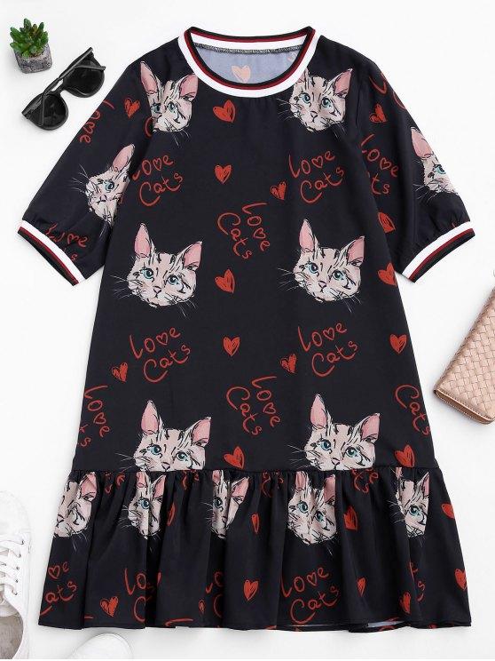 Mini Vestido con Volantes con Estampado de Gato - Negro S