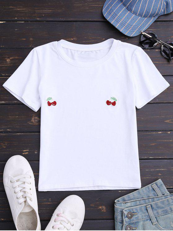 buy Cherry Embroidered Short Sleeve T-Shirt - WHITE M