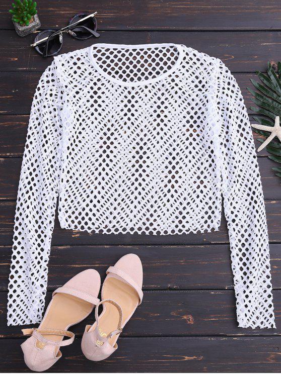 Top de la costura neto - Blanco S