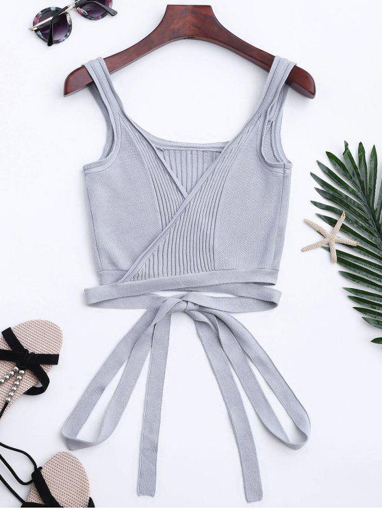 Knitted Wrap Crop Tank Top - Gray S