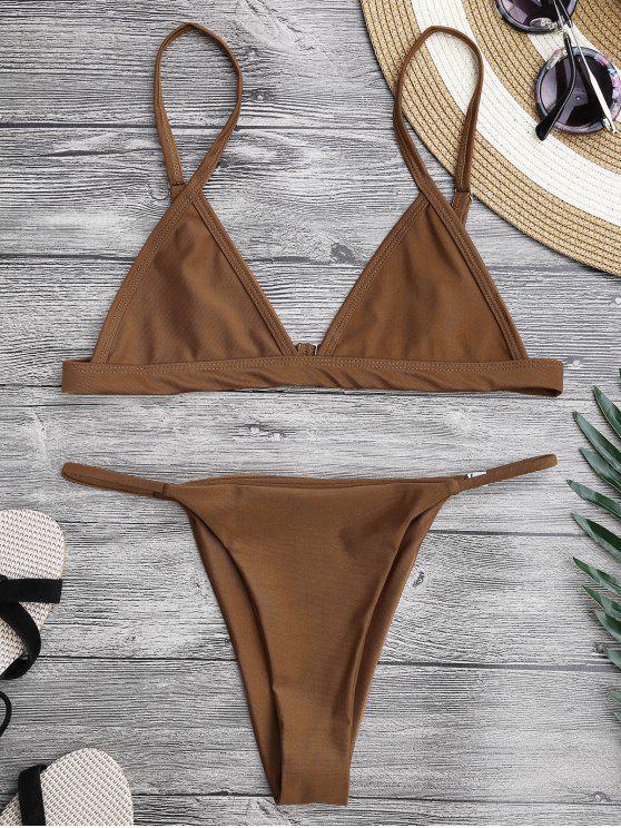 affordable Spaghetti Straps Plunge String Bikini Set - BROWN M