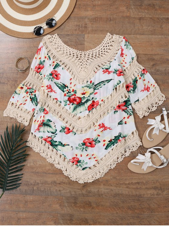new Floral Crochet Panel Beach Cover Up Top - OFF-WHITE ONE SIZE