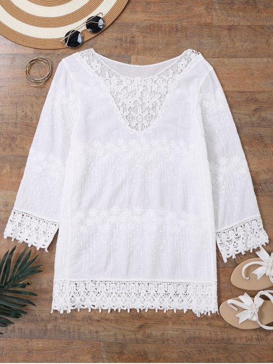 Vêtement en coton brodé avec manches - Blanc TAILLE MOYENNE