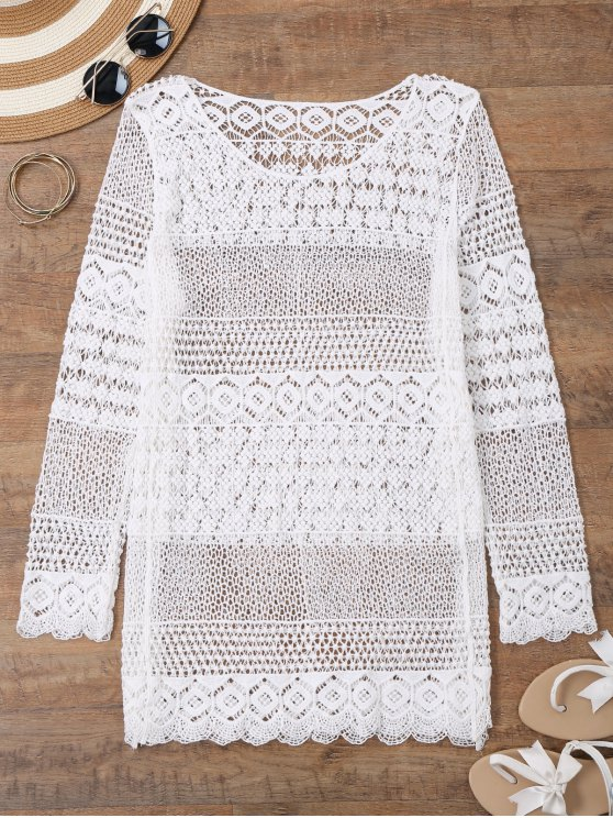 outfit Long Sleeves Crochet Beach Cover Up Dress - WHITE ONE SIZE