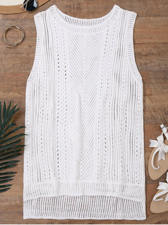 Semi Sheer Crochet Beach Cover Up Tank Top - Blanco Única Talla