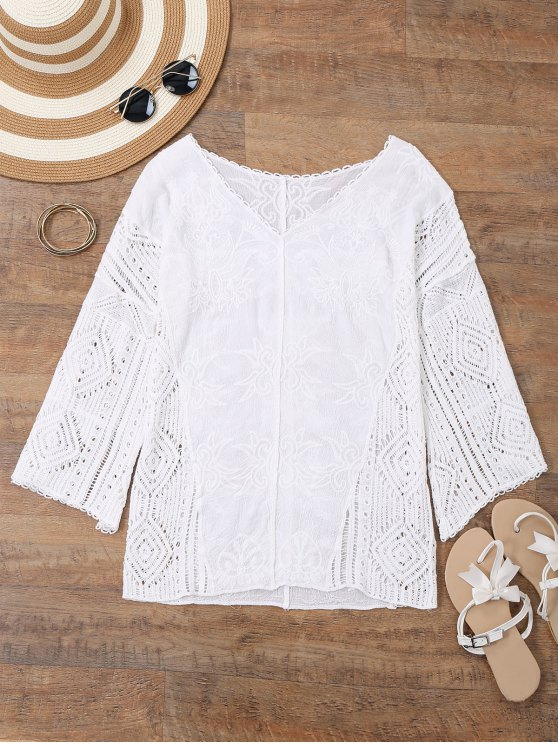 shop V Neck Embroidered Crochet Beach Cover Up - WHITE ONE SIZE