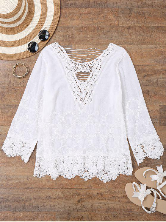 shops Embroidered Crochet Beach Cover Up Top - WHITE ONE SIZE