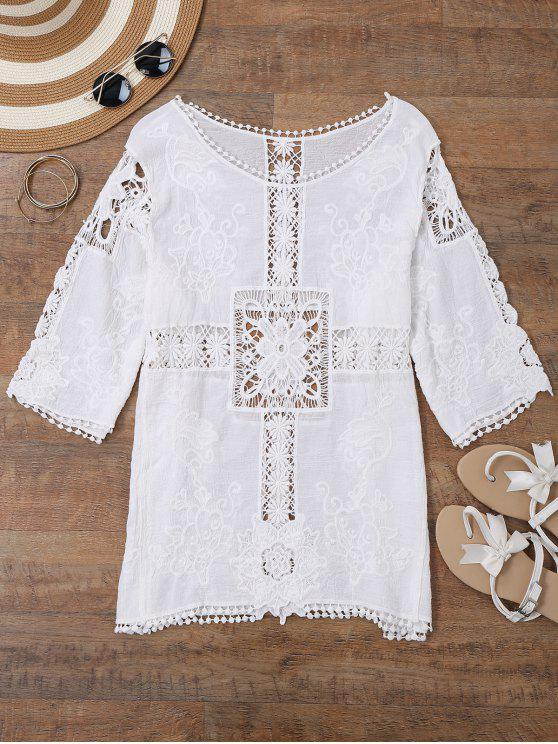 latest Sheer Crochet Panel Beach Cover Up Top - WHITE ONE SIZE