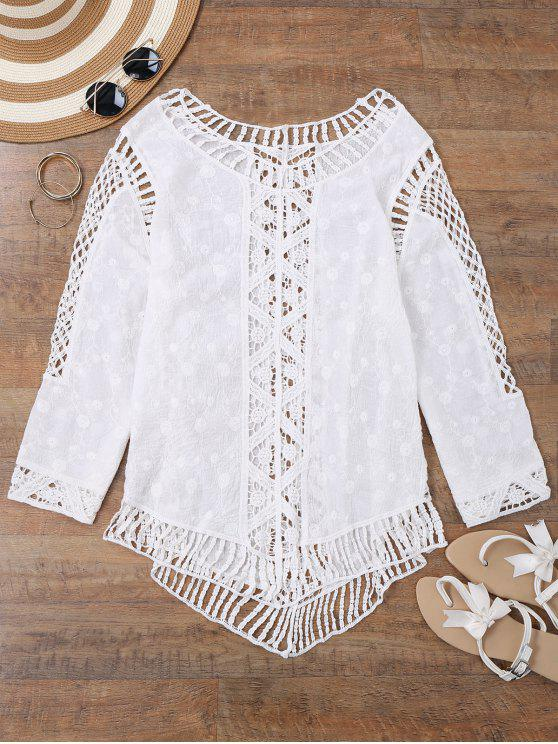 trendy See-Thru Crochet Panel Beach Cover Up Top - WHITE ONE SIZE