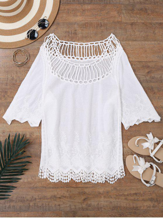 fashion Crochet Yoke Beach Cover Up Top - WHITE ONE SIZE