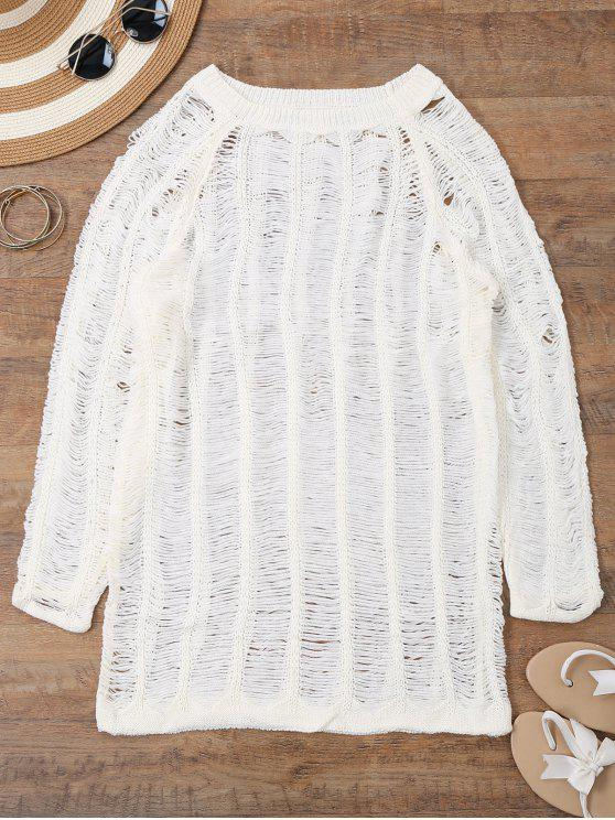 sale Long Sleeves Sheer Beach Cover Up Dress - WHITE S