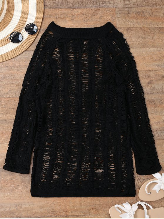 women Long Sleeves Sheer Beach Cover Up Dress - BLACK S