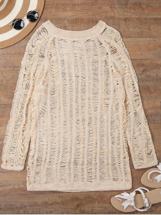 ladies Long Sleeves Sheer Beach Cover Up Dress - BEIGE L