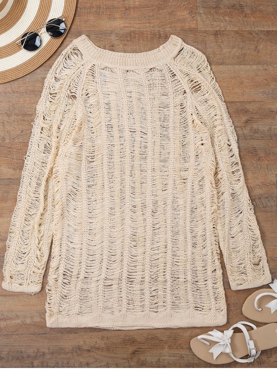 lady Long Sleeves Sheer Beach Cover Up Dress - BEIGE M