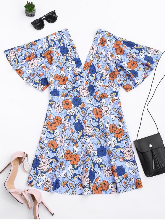 outfit Kimono Sleeve Empire Wasit Floral Mini Dress - FLORAL S