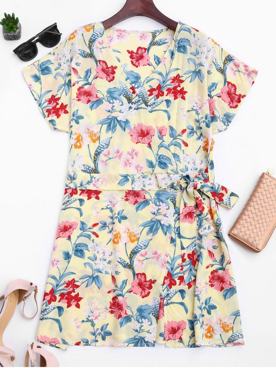 shops Side Tied Floral Surplice Mini Dress - FLORAL S