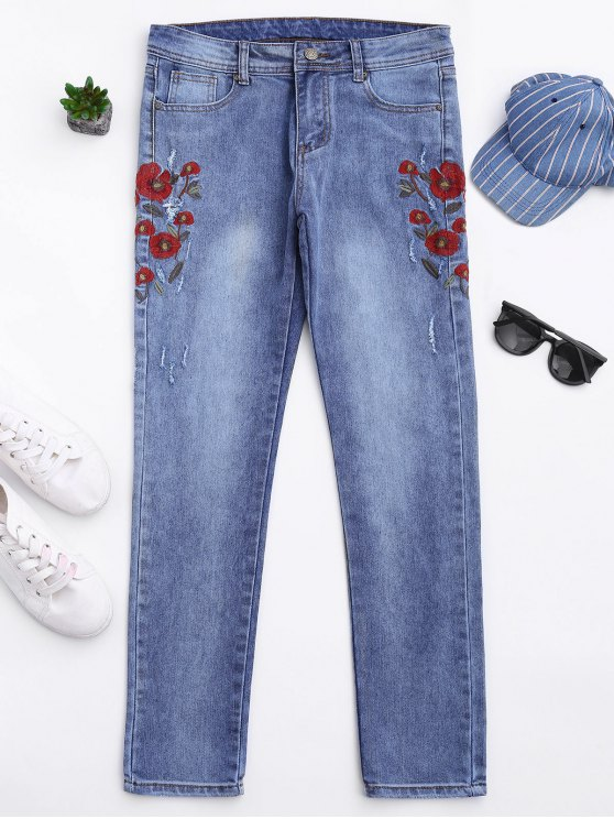trendy Ripped Floral Embroidered Tapered Jeans - DENIM BLUE L