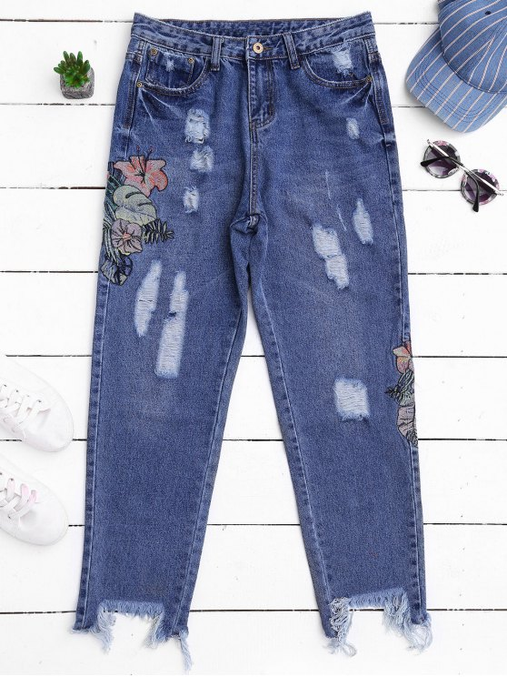 unique Ripped Cutoffs Embroidered Tapered Jeans - DENIM BLUE L