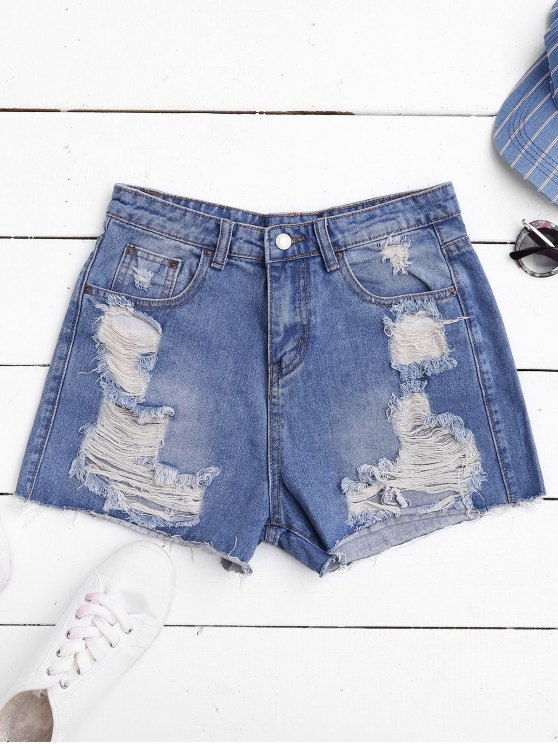 women's Ripped Cutoffs Denim Shorts - DENIM BLUE S