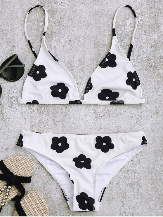 Conjunto de bikini de estampado floral de baja cintura - Blanco S