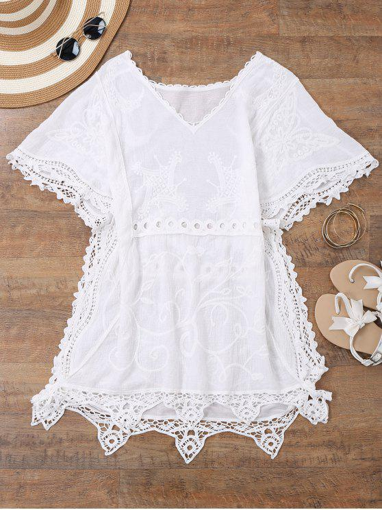 buy Open Side Beach Kaftan Cover Up Dress - WHITE ONE SIZE