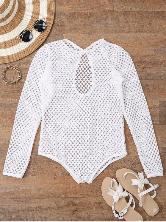 women Long Sleeves Sheer Fishnet Swimsuit Cover Up - WHITE L