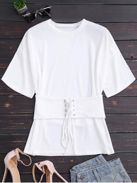 Camiseta de manga corta con encaje de corsé - Blanco L