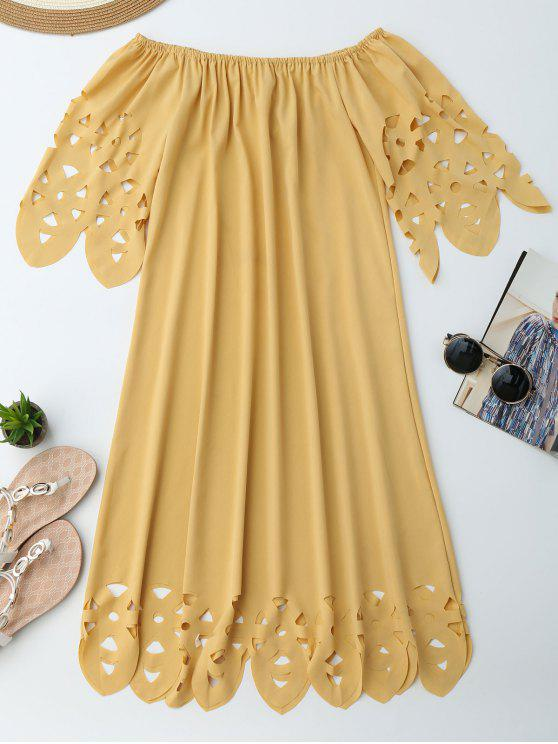 sale Off The Shoulder Flared Dress - YELLOW L