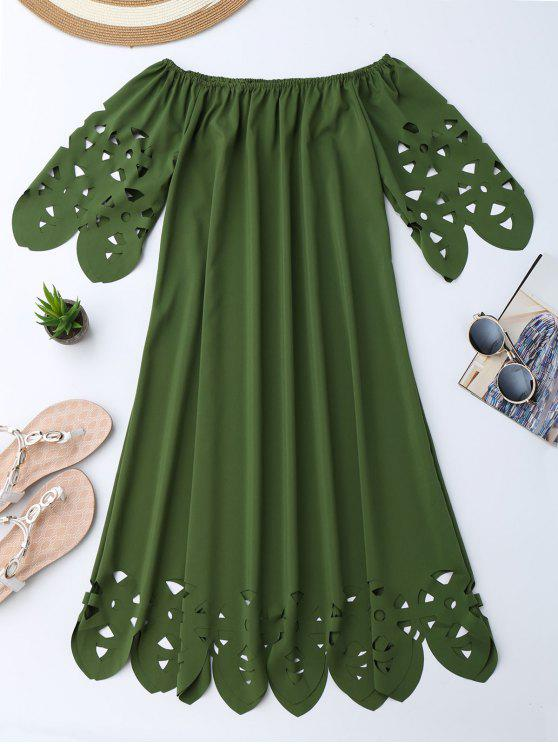 Vestido de Encaje con Vuelo con Hombros al Aire - Ejercito Verde L