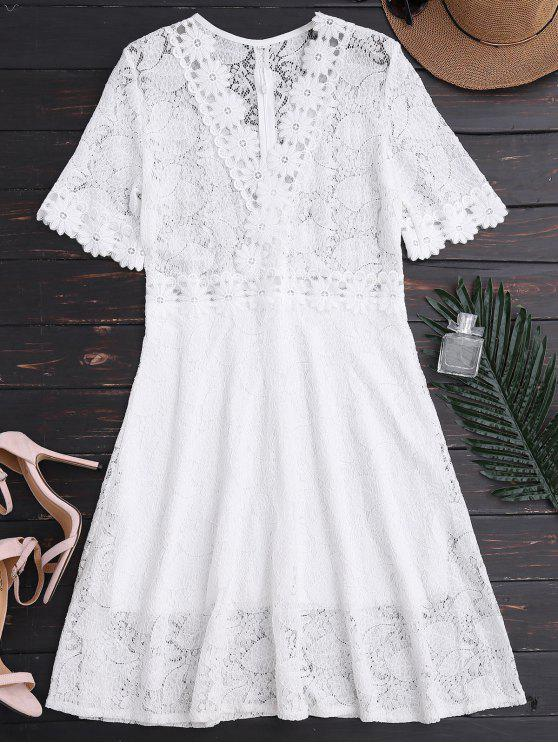 chic Sheer Plunge Neck Lace Dress - WHITE L