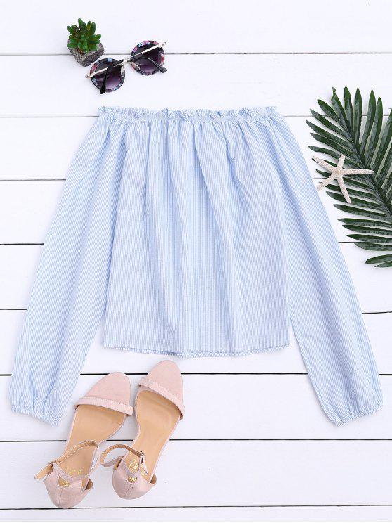 ee66657e869 26% OFF  2019 Striped Off Shoulder Ruffle Top In LIGHT BLUE