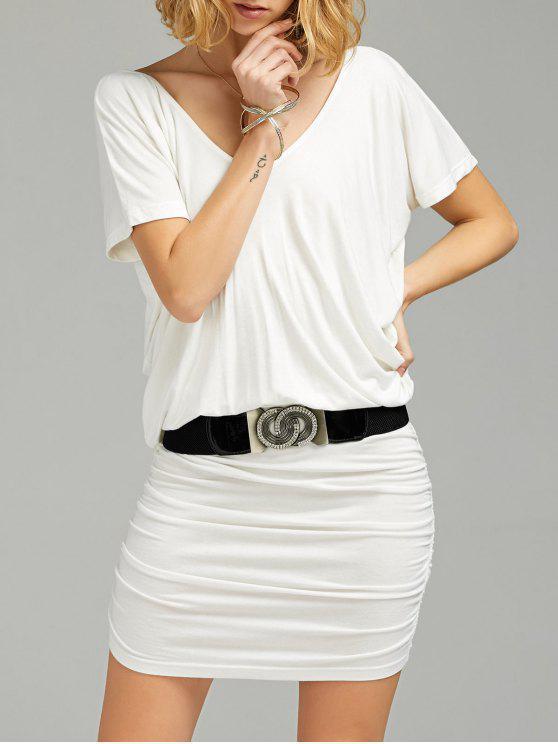 فستان تيه غارق الرقبة مطوي مع حزام - أبيض 2XL