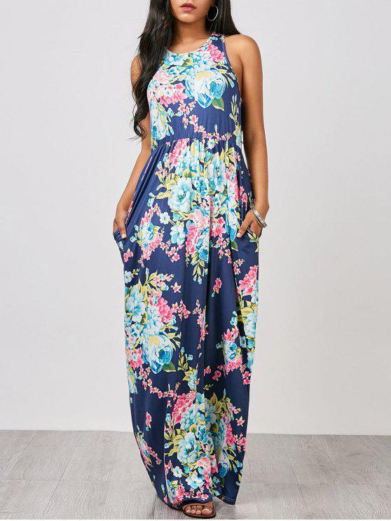فستان بلا أكمام الأزهار ماكسي - الأرجواني الأزرق L