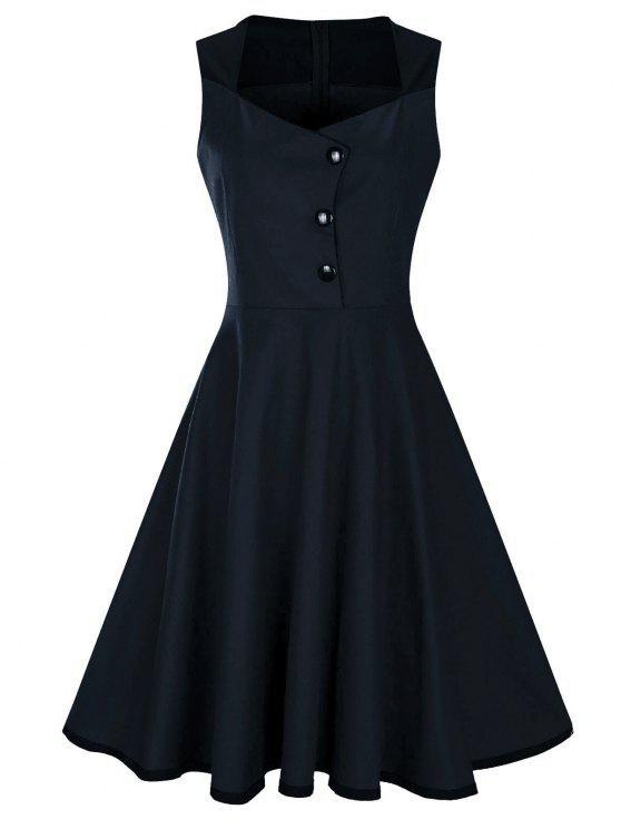 فستان بلا أكمام زر مطرز كلاسيكي - الأرجواني الأزرق S