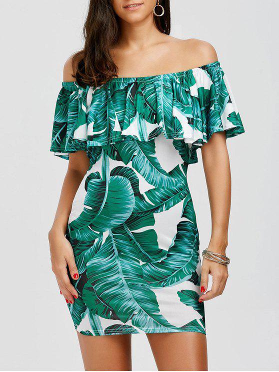 قبالة الكتف ورقة طباعة الكشكشة فستان العروس - الأبيض والأخضر L