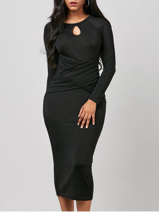 فستان ثقب المفتاح ميدي مطوي طويلة الأكمام ضيق - أسود XL