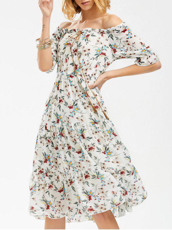 قبالة الكتف الزهور طباعة الشيفون اللباس - أبيض L