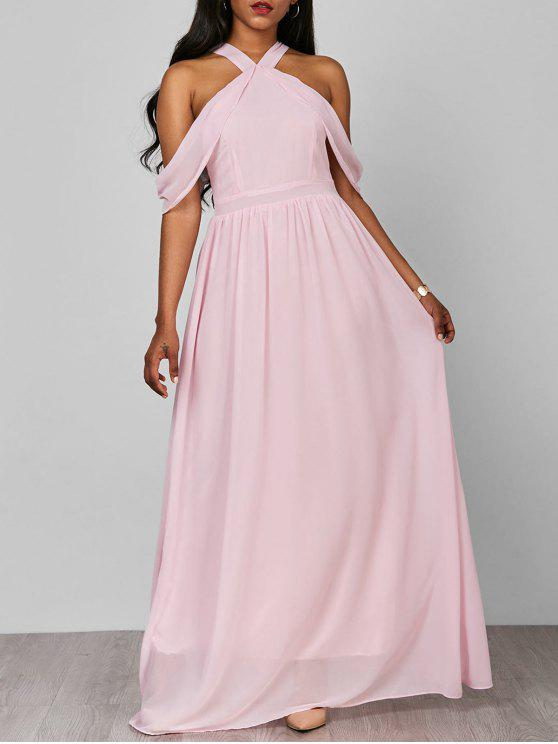 فستان ماكسي رسمي باردة الكتف طويل شيفون - زهري S