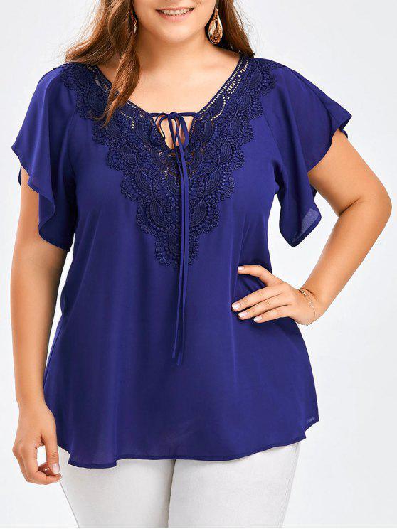 51b94c8af9e 46% OFF  2019 Plus Size Lace Trim Tie Front Blouse In BLUE XL