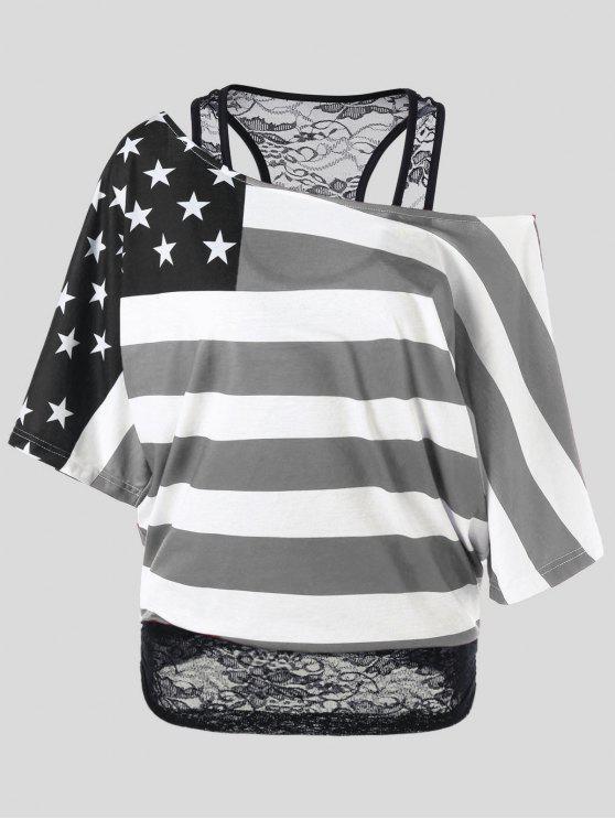 T-Shirt avec Col Oblique Imprimé Drapeau Américain Grande Taille - Noir XL