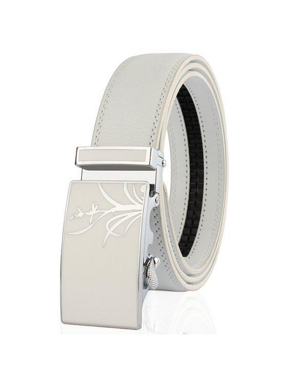 مصقول السحلية نمط التلقائي مشبك حزام - أبيض 110CM