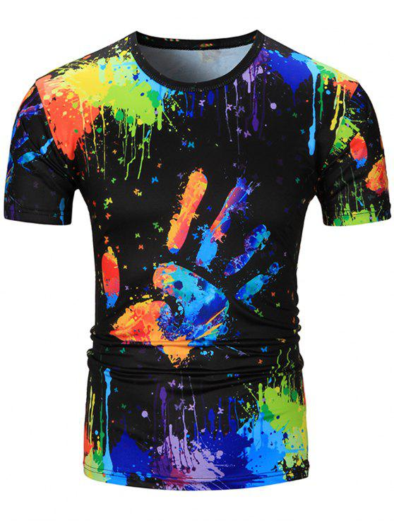 unique Crew Neck Colorful Splatter Paint Handprint Print T-Shirt - BLACK 2XL
