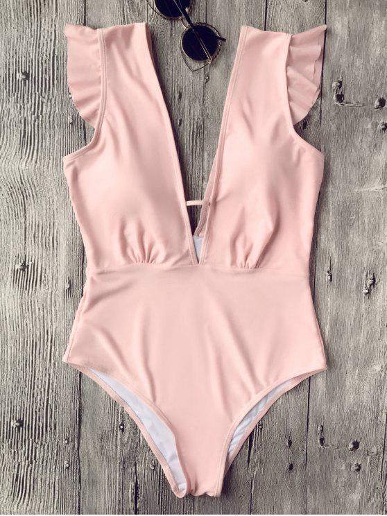 Rüschen tiefer Ausschnitt Einteiler Badeanzug - Pink L