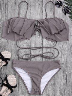 Lacado Ruffle Fuera Del Conjunto De Bikini Hombro - Gris Pardo S