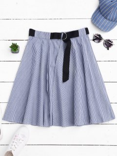 Belted Wrap Layered A-Line Skirt - Stripe L