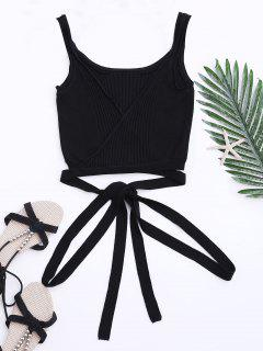 Knit Wrap Crop Tank Top - Black L