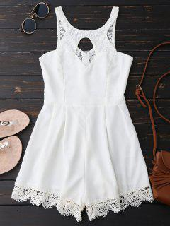 Lace Panel Scalloped Cut Out Romper - White M