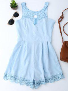 Lace Panel Scalloped Cut Out Romper - Light Blue M