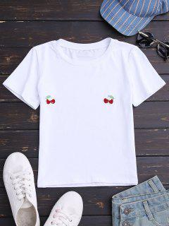 Cherry Embroidered Short Sleeve T-Shirt - White M