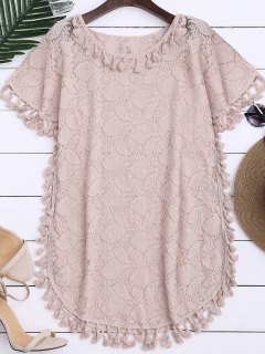 Sheer Lace Top With Tassel - Light Pink S